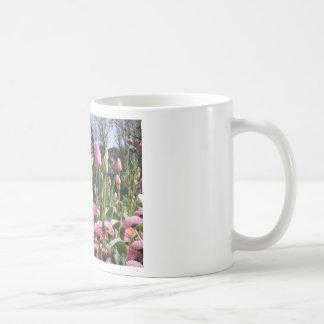 Pretty Pink Tulip Garden Mugs