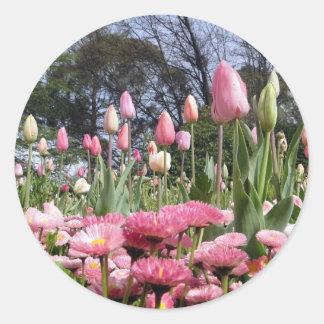 Pretty Pink Tulip Garden Round Sticker