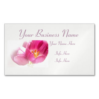 Pretty Pink Tulips Magnetic Business Cards