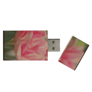 Pretty Pink Tulips Wood USB 2.0 Flash Drive