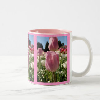 Pretty pink tulips mug