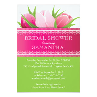 Pretty Pink Tulips Spring Bridal Shower 13 Cm X 18 Cm Invitation Card