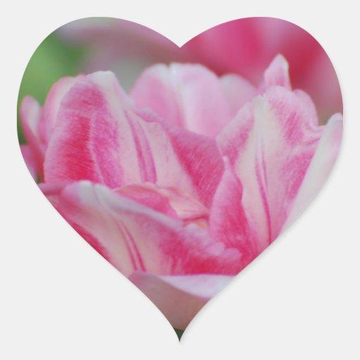 Pretty Pink Tulips Heart Stickers