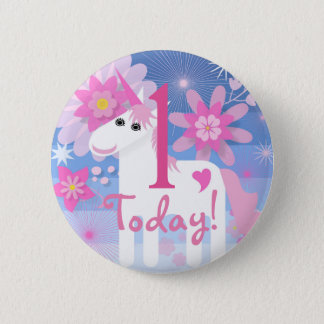 Pretty Pink Unicorn Birthday Number Round Badge