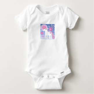 Pretty Pink Unicorn Short-Sleeved Gerber Vest Baby Onesie