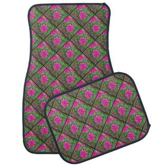 Pretty pink verbena flowers floral photo car mat