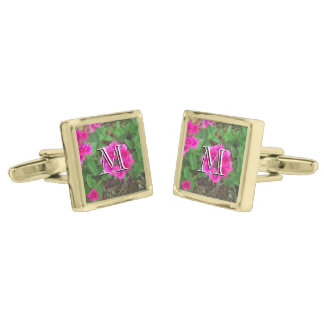 Pretty pink verbena flowers floral photo gold finish cuff links