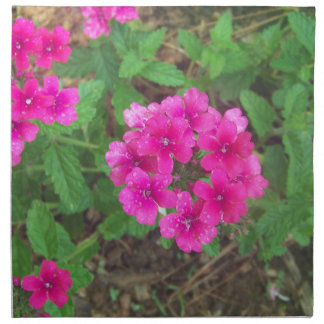 Pretty pink verbena flowers floral photo napkin