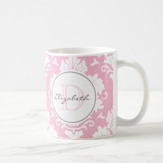 Pretty Pink Vintage Damask Monogrammed Mug