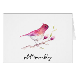 Pretty Pink Watercolor Bird Personalized Note Card