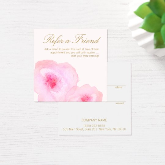 Pretty Pink Watercolor Floral Customer Referral Square Business