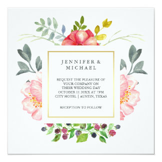 Pretty Pink Watercolor Peonies with Gold Wedding 13 Cm X 13 Cm Square Invitation Card