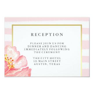 Pretty Pink Watercolor Peony and Stripes Reception 9 Cm X 13 Cm Invitation Card
