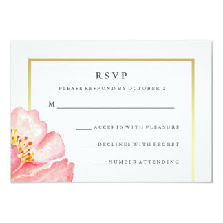 Pretty Pink Watercolor Peony on White RSVP 9 Cm X 13 Cm Invitation Card