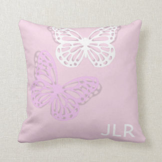 Pretty pink & white butterfly personalised cushion