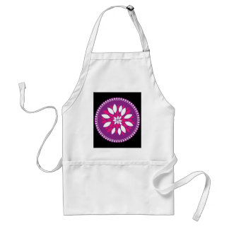 Pretty Pink White Flower Petals in Purple Circle Aprons