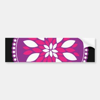 Pretty Pink White Flower Petals in Purple Circle Bumper Sticker
