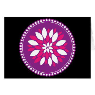 Pretty Pink White Flower Petals in Purple Circle Note Card