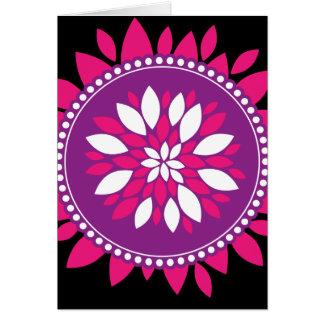 Pretty Pink White Purple Flower Mandala Circle Greeting Card