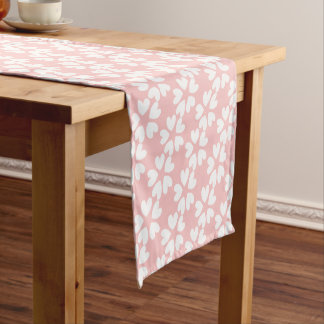 Pretty Pink White Sweet Love Hearts Patterned Short Table Runner