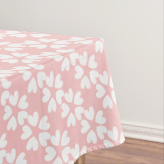 Pretty Pink White Sweet Love Hearts Patterned Tablecloth