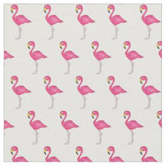 Pretty Pink White Tropical Island Bird Flamingos Fabric