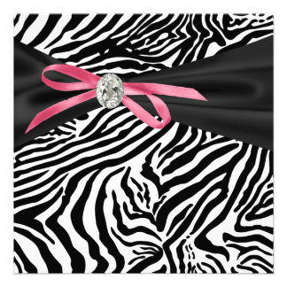Pretty Pink Zebra Party Invitation