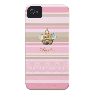 Pretty pinks stripes barcodes bling crown iphone 4 iPhone 4 Case-Mate case
