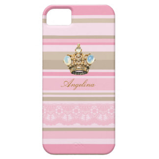 Pretty pinks stripes barcodes bling crown iphone 5 iPhone 5 covers