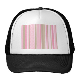 Pretty pinks taupes lace stripes barcodes cap