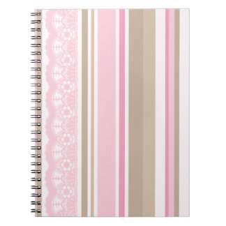 Pretty pinks taupes lace stripes barcodes notebook