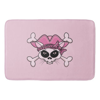Pretty Pirate Kitty Skull Bath Mat