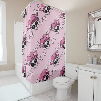 Pretty Pirate Kitty Skull Shower Curtain