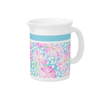 Pretty Pitcher, Jug, Pink Roses, White Butterflies Pitcher