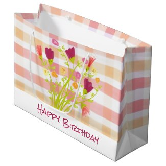 Pretty Plaid and Flowered Paper Gift Bag