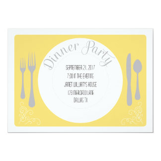 Pretty plate dinner party invitation