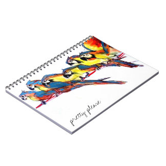 Pretty please macaw parrots spiral notebook