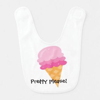 Pretty Please Pink Ice Cream Baby Bib
