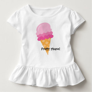 Pretty Please Pink Ice Cream Ruffled Toddler Shirt