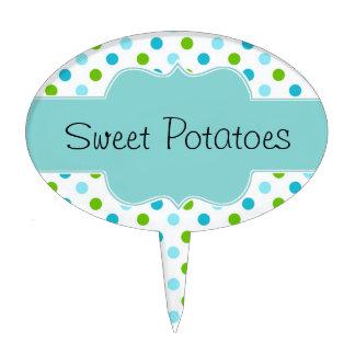Pretty Polka Dot Custom Garden Plant Marker Cake Topper