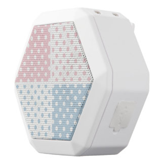 Pretty, polka dot,white,pink,blue,girly,country, white boombot rex bluetooth speaker