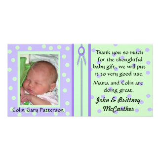 Pretty Polka Dots Baby photo thank you cards Picture Card