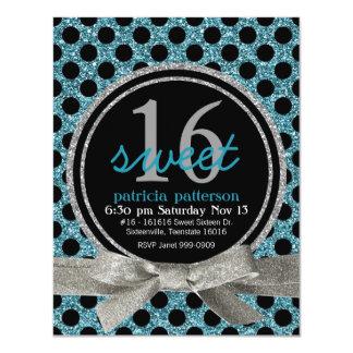 """Pretty Polkadot Aqua Glitter Look Sweet 16 Party 4.25"""" X 5.5"""" Invitation Card"""