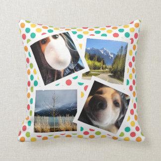 Pretty Polkadots with Instagram Photos Throw Pillow