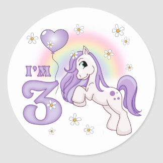 Pretty Pony 3rd Birthday Round Sticker