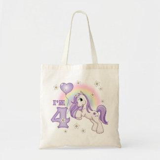 Pretty Pony 4th Birthday Canvas Bags