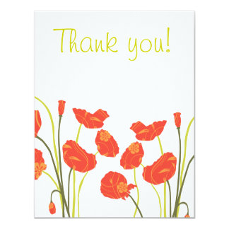 Pretty Poppies Thank you Notecard 11 Cm X 14 Cm Invitation Card