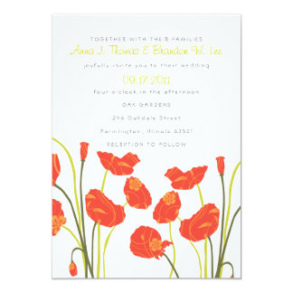 Pretty Poppies Vertical Invitation Card