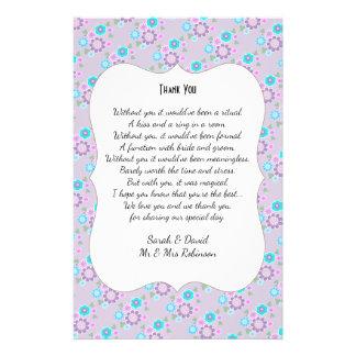 Pretty Posy Flowers Wedding Poem Thank You Scroll Flyer