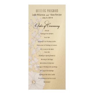 Pretty Posy Wedding Program - metallic champagne Invite